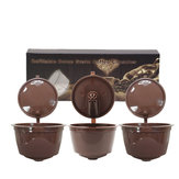 3 Stks / set Hervulbare Koffie Capsule Cup Herbruikbare Koffiepads w / Koffielepel Borstel voor Nescafe Dolce Gusto Brewer