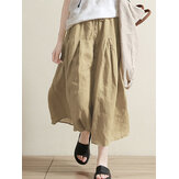 Women Elastic Waist Long Pants Solid Baggy Trousers