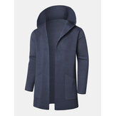 Mens Hooded Big Pockets Pure Color Thick Mid Long Coats