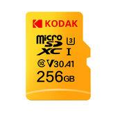 Kodak U3 V30 Class10 Carte Micro SD SDXC SDHC Carte SD Mémoire TF Flash Carte 512 Go 256 Go pour le stockage vidéo Carte mémoire sécurisée