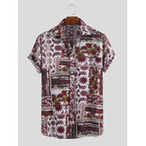 Mens Mode Lucu Dicetak Turn Down Collar Kemeja Hawaii