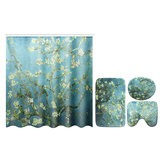 Flower Waterproof Shower Curtain Waterproof Polyester Fabric Bathroom Curtains for 12 Hooks