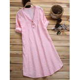 Short Sleeve Stripe Casual Dress