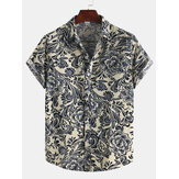 Men Cotton Ethnic Pattern Floral Print Oriental Short Sleeve Shirts