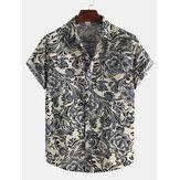 Hommes coton motif ethnique imprimé floral chemises à manches courtes orientales