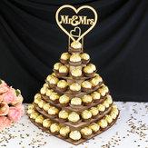 Персонализированная шоколадная закуска Дисплей Mr & Mrs Сердце Свадебное Десерт Стенд Полка Стеллаж Вечеринка Центральная часть