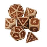 7 sztuk Wielościennych kostek wykonanych w drewnie Zestaw gier fabularnych Gadżet do gry w kości Dungeons Dragon Games Gift