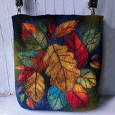 Dames Colorful Leaf DIY Lamb Hair Bag Crossbody Bag Schoudertas