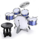 Kids Jazz Drum Set Kit Musical Educational Instrument 5 Drums 1Cymbal with Stool Drum Sticks Percussion Instrument