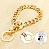 17mmのステンレス鋼の金の鎖犬のネックレスのペットつばの子犬の訓練の縁石