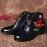 Women Embroidered Rose Butterfly Flat Ankle Boots