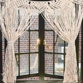 大マクラメ壁掛けドア窓カーテン結婚式の背景タペストリーギフト