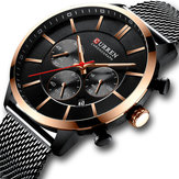 CURREN 8340 Chronograph Calendar Mesh Steel Men Wristwatch