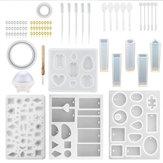 76PCS DIY Moldes de fundição em resina Silicone Jóias artesanais Pingente Fazendo o kit de ferramentas do molde