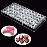 Clear Little Heart Shaped PC Polycarbonate 55 Chocolate Mold Candy Mould Tray