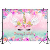 5x3FT 7x5FT 9x6FT Vinyl Pink Unicorn Happy Birthday Photography Tło Tło Studio Prop
