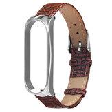 Metal Caso Relógio de couro com textura de tecido Banda Substituição de pulseira de relógio para Xiaomi Miband 4