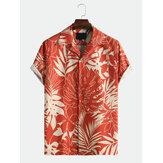 Herrar blad tryckta sommar andningsbara snabbtorkande skjortor