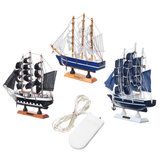 LED Light Wooden Sailing Nautical Ship Boats Model Craft Sailor Handcrafted Desktop Decor