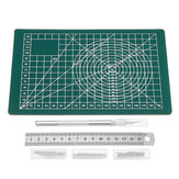 A5 Non Slip Cutting Mat with Stainless Metric Ruler and Blades Wood Carving Tool