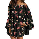 Off Shoulder Floral Print Chiffon Ruffle Sleeve Blouse Mini Dress For Women