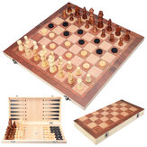 3 In1 Portable Wooden Foldable Chess Board Set & Checkers & Backgammon Set With Chess Pieces And Carrying Case