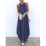 Casual Striped Strappy High Low Long Maxi Dress