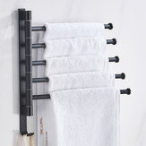 2-5 Rack Black Wall-Mounted 180° Angle Towel Rack Holder Hook Hanger Rotating Bar Bathroom Kitchen