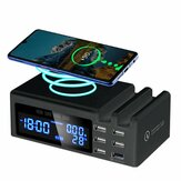 Qi Wireless Phone ChargeQC3.0 Smart LCD Uhr 48 W 5 Anschlüsse 2.1A Adapter Temperaturanzeige Desktop-Ladestation Für iPhone Adapter + Typ C.
