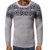 メンズSoftスノーフレークラウンドネック3D透かし編みセーター