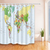 180X180cm Polyester World Map Bathroom Bath Waterproof Fabric Shower Curtain