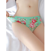 Lace-trim Floral Printed Seamless Ice Silk Briefs