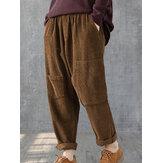 Solid Elastic Waist Corduroy Pants