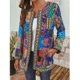 Ethnic Style Vintage Floral Printed Long Sleeve Coats For Women