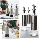 KCASA 300ML Olive Oil Dispenser Bottles with Funnel Stainless Steel Oil Pourer Dispensing Bottles Oil Vinegar Sauce Bottle