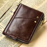Herren Echtleder Vinateg RFID Blocking Zipper Wallet
