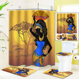 Exotic African Girls Bathroom Shower Curtain Toilet Cover Mat Non Slip Rug