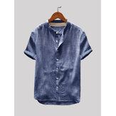 Heren vintage effen kleur single-breasted opstaande kraag korte mouw losse casual shirts