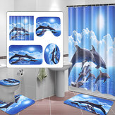 Shower Curtain Bath Pad Pedestal Rug Lid Toilet Cover Art Fashion Dolphin