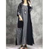 Plaid Patchwork Round Neck Long Sleeve Casual Maxi Dress