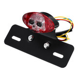 Skull Universal Brake Stop Tail License Plate Tail Light LED 12V Motorcycle Smoke ATV Bike