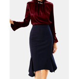 Solid Color Pearl Flared Long Sleeve Ruffled Office Blouse For Women