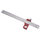 Drillpro CX300-1 Adjustable 30cm Stainless Steel 45/90 Degree Line Scriber Marking Ruler Angle Ruler Inch and Metric Magnetic Positioning Measuring Ruler Woodworking Tool