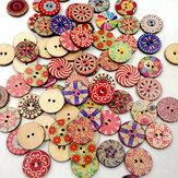 100Pcs Retro Cucito in legno Pulsanti Fai-da-te Borsa Cappello Abbigliamento Decorazione Pulsante per cucire