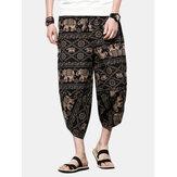 Losse broek in etnische stijl met gedrukte kuitlengte