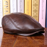Men Vintage Genuine Leather Beret Caps
