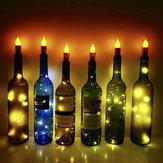 5pcs Batterie opéré flicker bouteille chaîne lumière blanc chaud forme de liège fil de cuivre LED bougie lampe