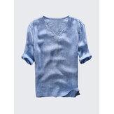 HerenVintageV-hals100%katoenencasual T-shirts
