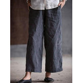 Women Vintage Straight Trousers Casual Wide Leg Pants