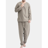TWO-SIDED Mens Cotton Comfy Soft Einfarbiges Langarm-Nachtwäscheset Yoga Pyjama-Set
